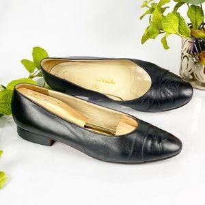 Chanel Cap Toe CC Ballet Flats Black Authentic